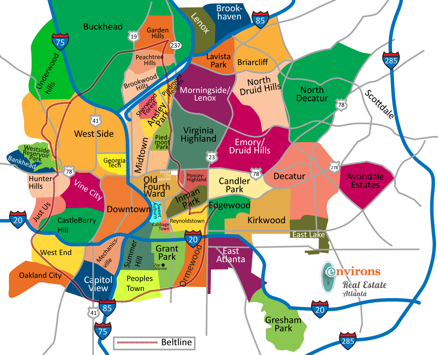 atlanta intown neighborhood map