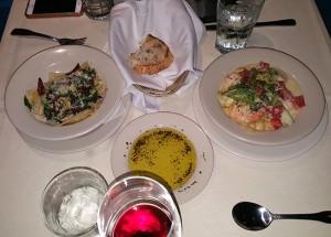 Seafood Pasta a la Crème and Ravioli Formaggio di Capra
