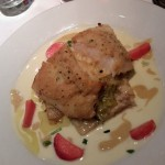 Pan Seared Alaskan Halibut with a Mustard Vinaigrette, Braised Leeks
