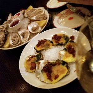 Gorgeous oysters (raw) and Oysters Rockefeller