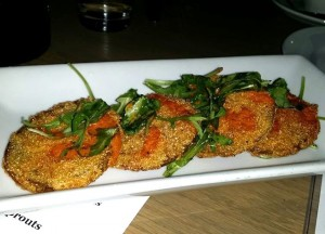 The popular fried green tomato appetizer