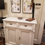 The re-painted bar cabinet